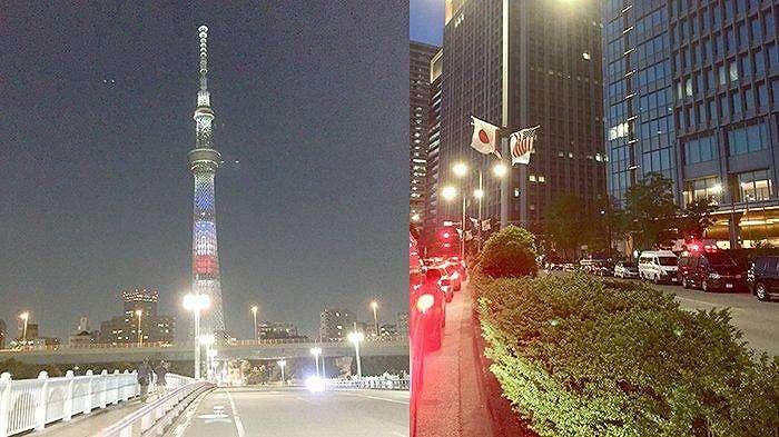 Bendera Amerika Serikat menghiasi jalan-jalan di Tokyo (kanan) dan iluminasi lampu Sky Tree dengan gambar bendera AS selama kunjungan Presiden Trump ke Tokyo.