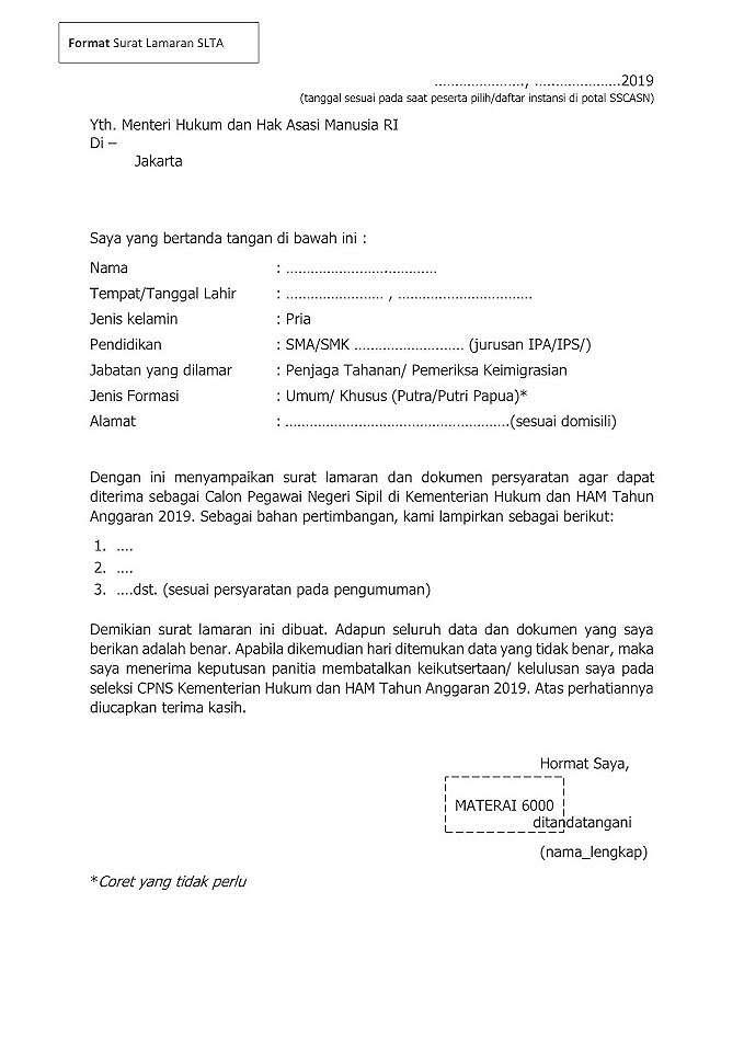 Contoh Surat Lamaran Cpns Kementerian Pendidikan Dan ...