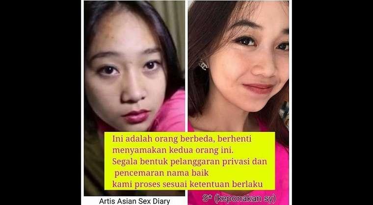 Perbandingan wajah pemeran video porno 'Ria From Bali' dan Sherlien Darmay