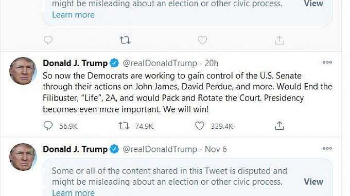 Beberapa cuitan Donald Trump di Twitter, beberapa ditandai karena mengandung informasi keliru