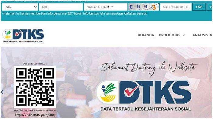 Halaman website dtks.kemensos.go.id.