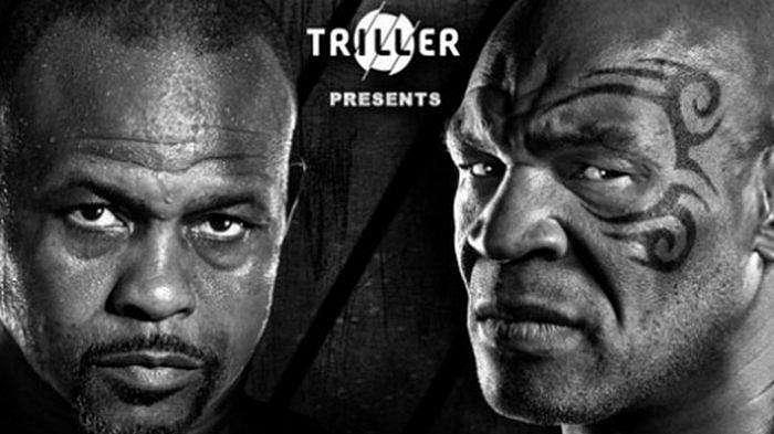 Poster pertarungan Roy Jones Jr (kiri) dan Mike Tyson (kanan).