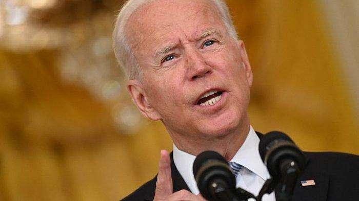 Presiden AS Joe Biden memberikan sambutan tentang situasi di Afghanistan di Ruang Timur Gedung Putih pada 16 Agustus 2021 di Washington, DC.