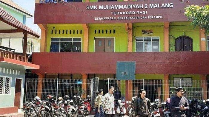 Suasana SMK Muhammadiyah 2 Kota Malang, Jumat (18/10/2019).Fakta-fakta Pemukulan Sejumlah Siswa oleh Motivator di SMK Muhammadiyah 2 Kota Malang.