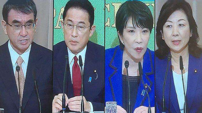 Kandidat Presiden Partai Liberal Demokratik (LDP) Taro Kono, Fumio Kishida, Takaichi dan Seiko Noda (paling kanan)