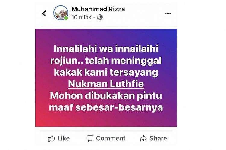 Kabar pertama meninggalnya Nukman Luthfie, Sabtu (12/1/2019)