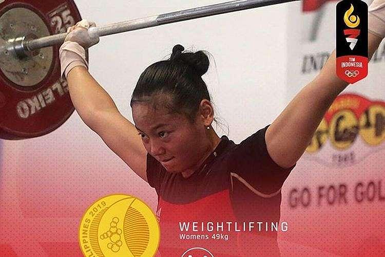 Lifter putri Indonesia, Windy Cantika Aisyah, berhasil meraih medali emas di SEA Games 2019.