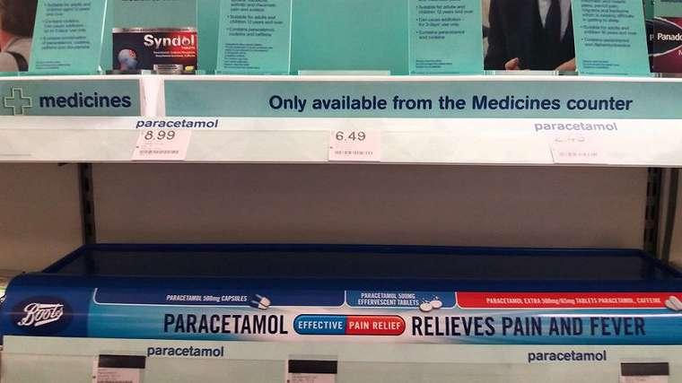 Parasetamol terjual habis di apotik-apotik di Inggris.