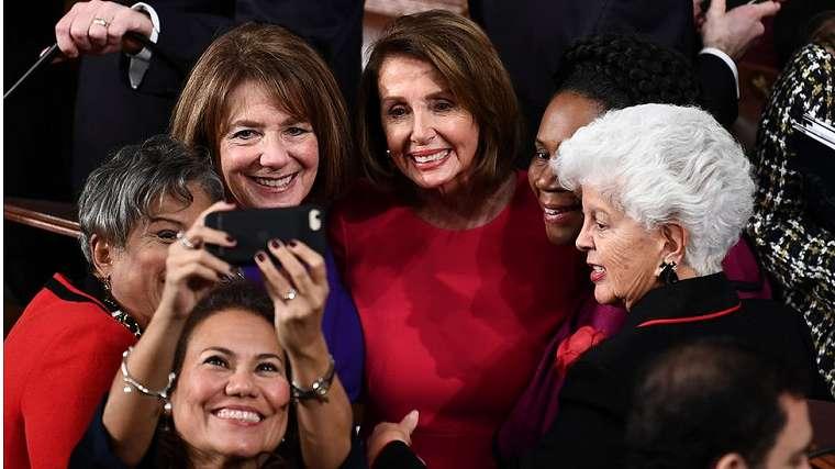 Nancy Pelosi (C), D-CA, is photographed with fellow Congresswomen