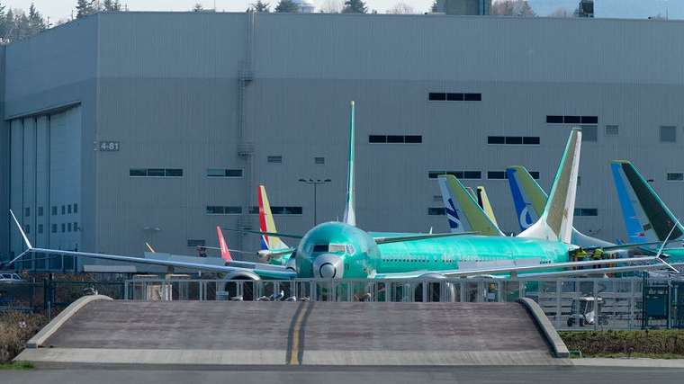 A Boeing 737 MAX 8 airplane is pictured outside the company`s factory.