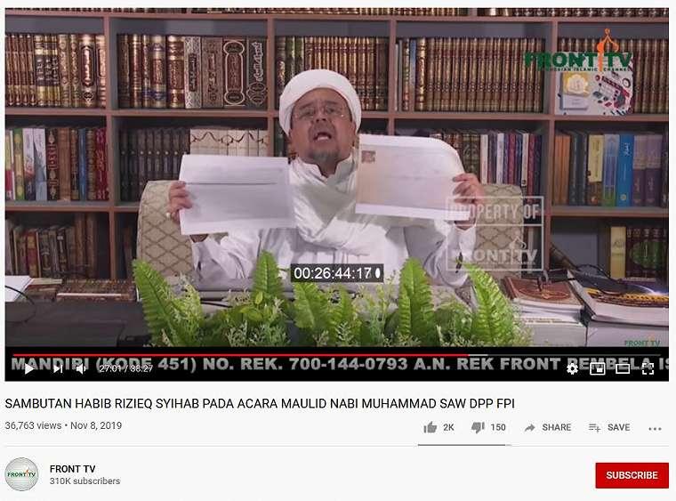 Habib Rizieq Shihab dalam video Front TV