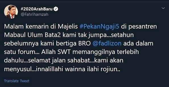 Tweet Fahri Hamzah mengenang almarhum