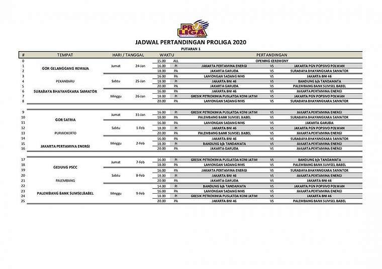 Jadwal pertandingan Putaran Pertama <a href='https://www.tribunnews.com/tag/proliga-2020' class='blue'>Proliga 2020</a>