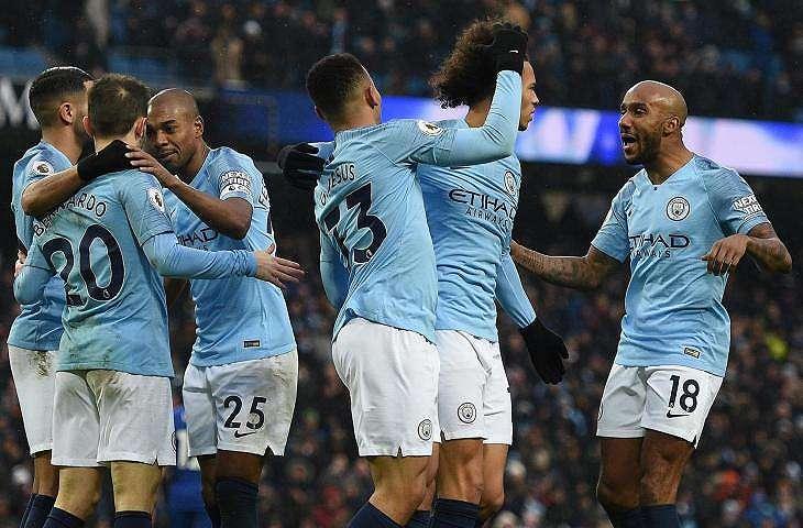 Pemain Manchester City merayakan gol ke gawang Everton (AFP)