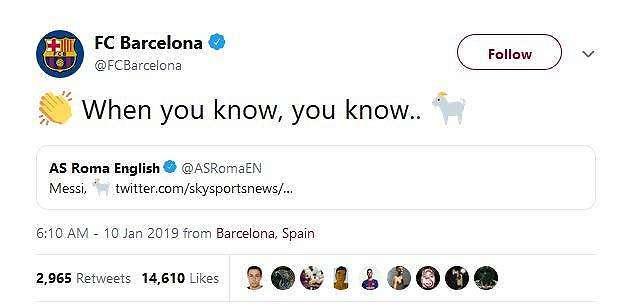 Barcelona membalas cuitan AS Roma (twitter.com/FCBarcelona)