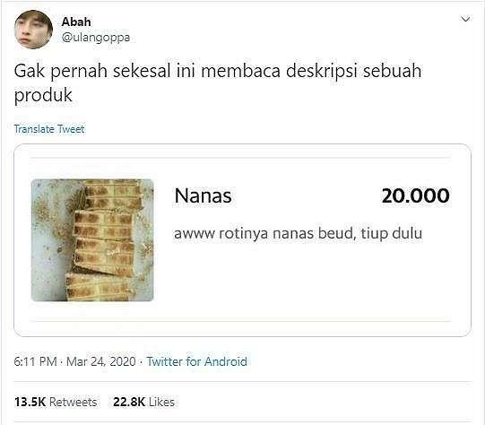 Deskripsi Receh Roti Nanas (twitter.com/ulangoppa)