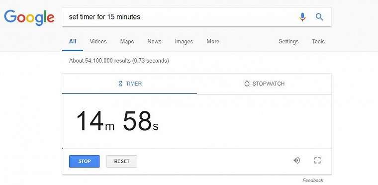 Timer Google. (Screenshot Google)