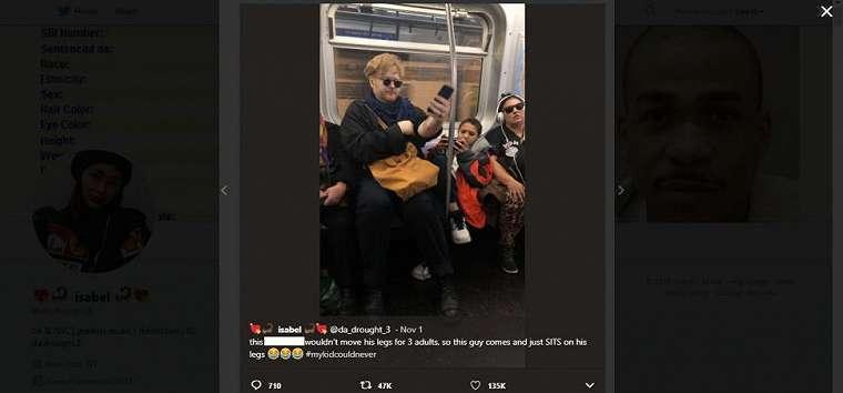 Aksi bocah di kereta. (twitter/da_drought_3)