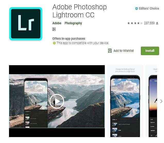 Aplikasi edit foto Lightroom. (PlayStore)
