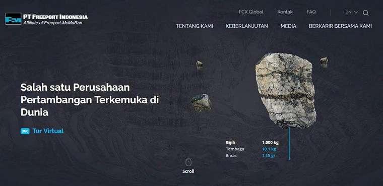 Salah satu tampilan di situs resmi PT Freeport Indonesia. (PTFI)