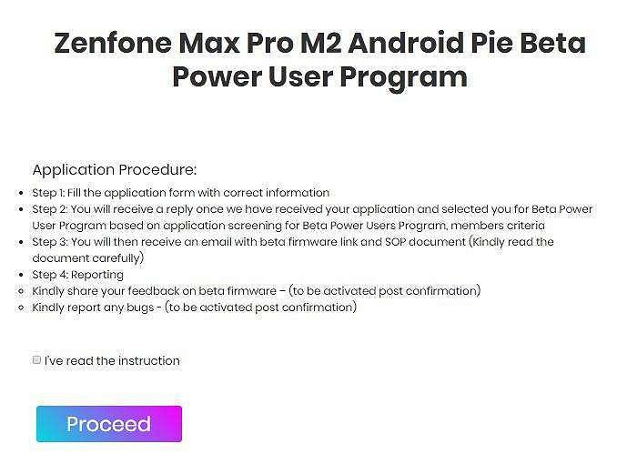 Salah satu proses pendaftaran saat mengajukan diri mengunduh Android Pie Beta. (Asus)