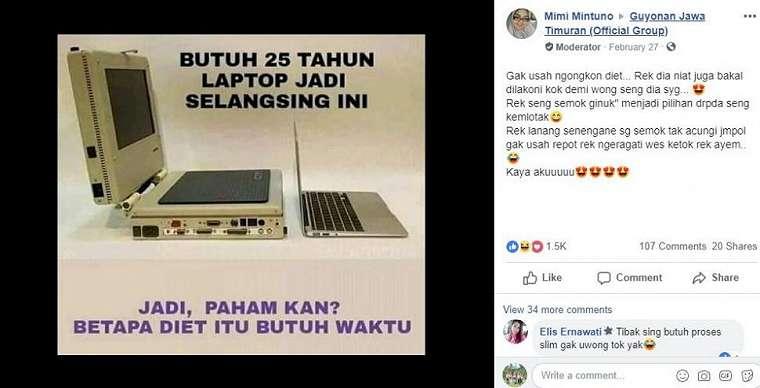 Meme sindiran diet ini viral di Facebook. (Facebook/ Mimi Mintuno)
