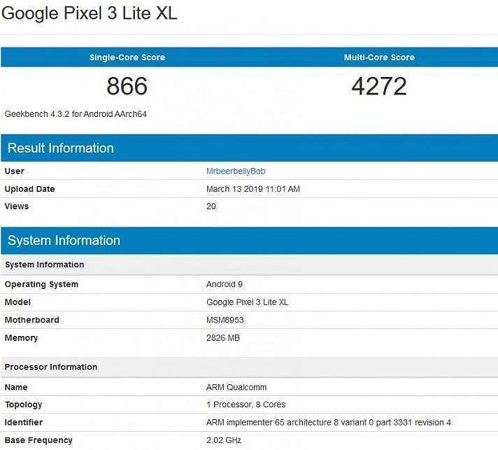 Benchmark Google Pixel 3 Lite XL. (Geekbench)