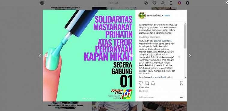 Meme nama komunitas pendukung Jokowi. (instagram/sewordofficial_)