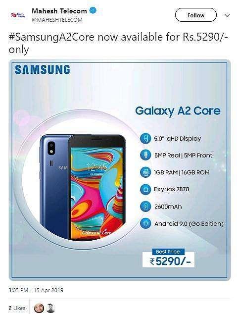 Spesifikasi Samsung Galaxy A2 Core. (Twitter/ MAHESHTELECOM)