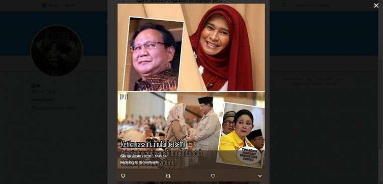 Meme kocak Prabowo dan Neno Warisman. (twitter/Gio94173838)