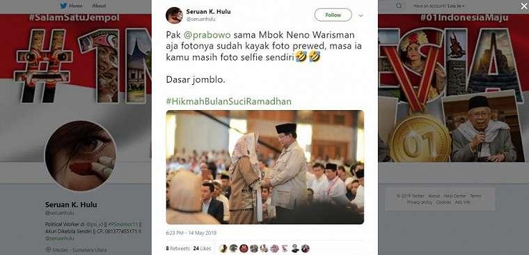 Meme kocak Prabowo dan Neno Warisman. (twitter/seruanhulu)