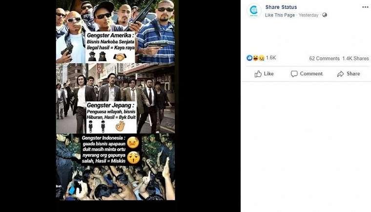 Meme gangster Indonesia vs gangster luar negeri. (Facebook/ Share Status)