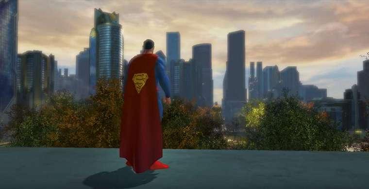 Tampilan Superman di atas gedung kota Metropolis. (YouTube/ DC Universe™ Online)