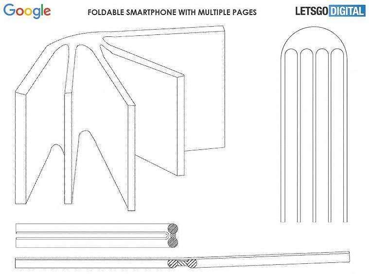 Ilustrasi smartphone lipat Google dengan lipat seperti buku berhalaman. (Let's Go Digital)
