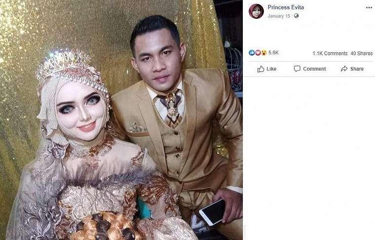 Tampilan riasan ini bikin netizen heboh. (Facebook/ Princess Evita)