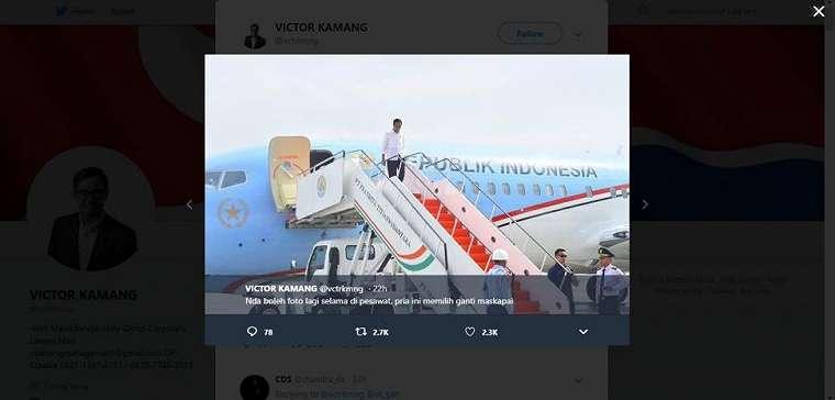 Jokowi naik Garuda Indonesia. (twitter/vctrkmng)