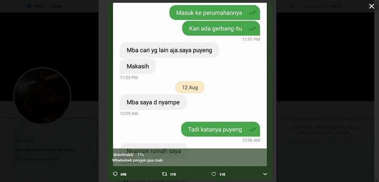 Driver ojol ogah antar customer. (twitter/dothrakill)