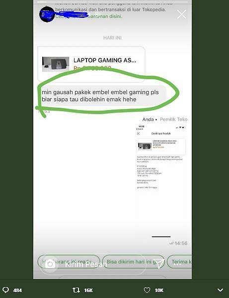 Persekongkolan penjual dan anak yang ingin beli laptop gaming. (Twitter/ Juriglagu)