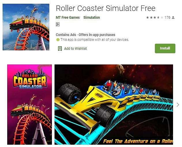 Game simulator roller coaster. (Play Store)