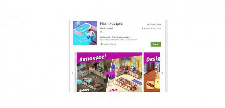 Ilustrasi game Homescapes. (Play Store)
