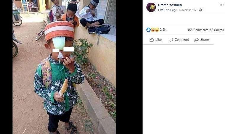 Aksi bocil yang bikin netizen geli dan ngakak. (Facebook/ Drama Sosmed)