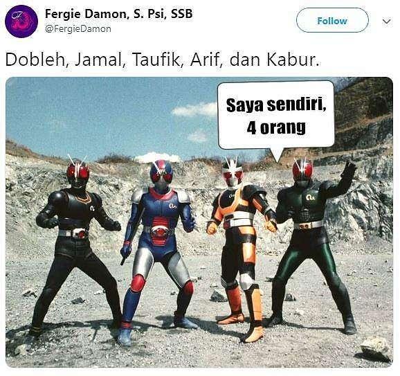 Meme Kocak Dobleh Jamal Taufik dan Kabur. (Twitter/ FergieDamon)