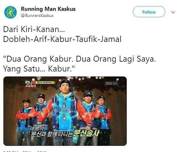 Meme Kocak Dobleh Jamal Taufik dan Kabur. (Twitter/ RunnersKaskus)