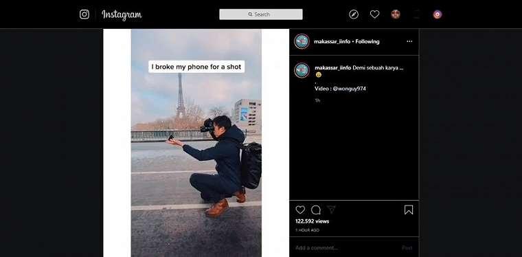 Fotografer ikhlas iPhone X miliknya hancur. (instagram/makassar_iinfo)