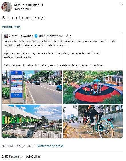 Wajah Baru Jakarta. (Twitter/@aniesbaswedan)