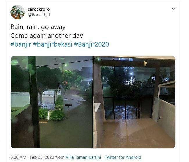 Penampakan banjir yang diunggah netizen pada hari Selasa (25/02/2020) dini hari. (Twitter/ Ronald_JT)