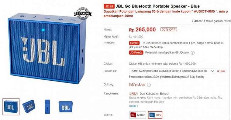 JBL Go Bluetooth Portable Speaker. (JD.id)