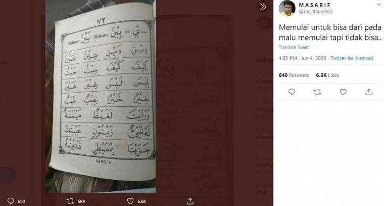 Seorang pria yang mengulang kembali pelajaran di buku Iqro justru banjir semangat hingga viral di Twitter. (Twitter/ mr_thanos63)