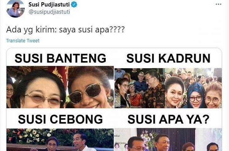 Susi Pudjiastuti posting meme kiriman dari netizen. (Twitter/ susipudjiastuti)