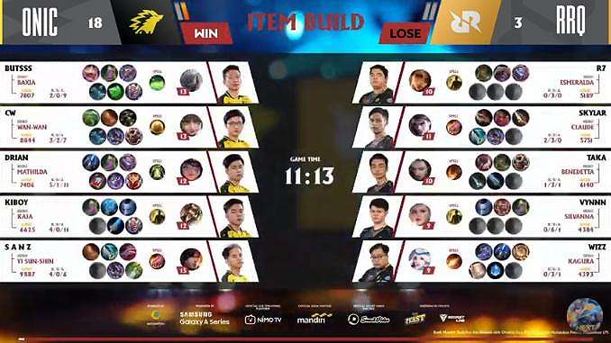 Game pertama ONIC vs RRQ Hoshi. (youtube/MPL Season 7)
